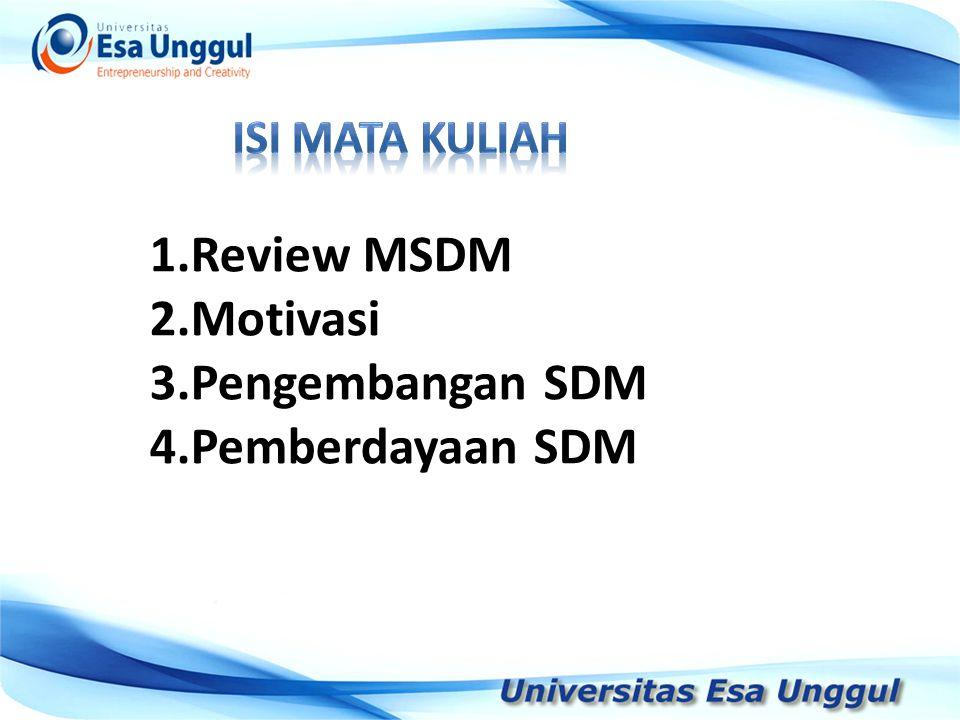 Tahun Pendapatan Nasional (milyar Rupiah) 1990 1991 1992 1993 1994 1995 1996 1997 590,6 612,7 630,8 645 667,9 702,3 801,3 815,7 1.Review MSDM 2.Motivasi 3.Pengembangan SDM 4.Pemberdayaan SDM