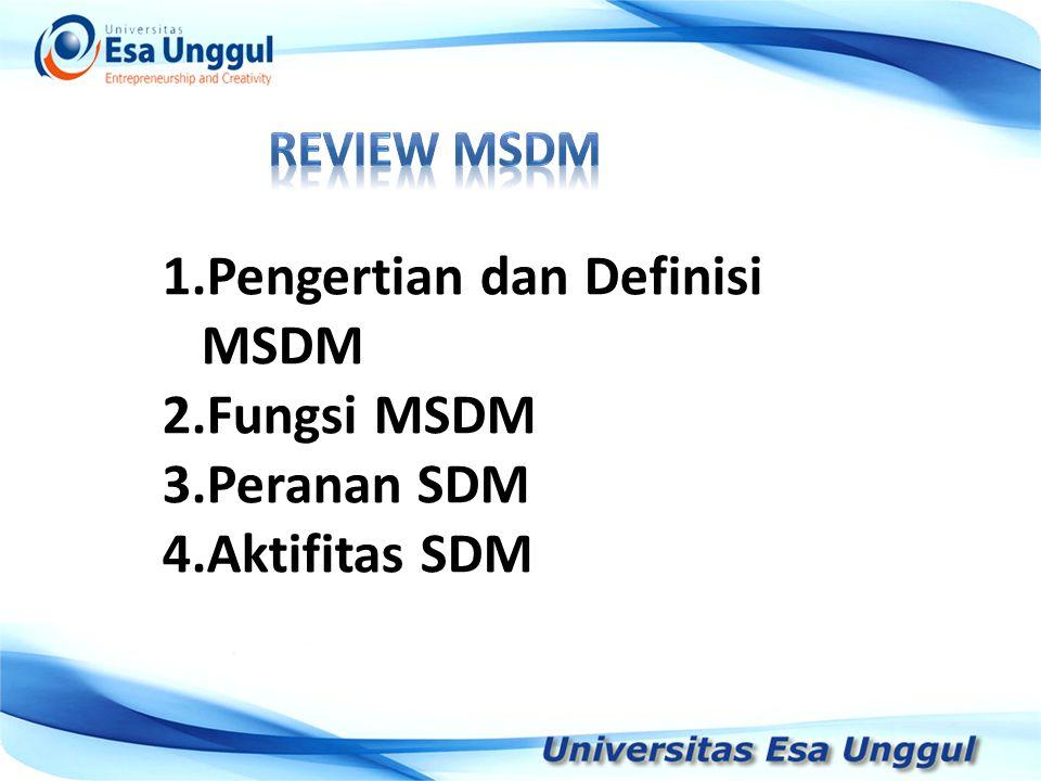 Tahun Pendapatan Nasional (milyar Rupiah) 1990 1991 1992 1993 1994 1995 1996 1997 590,6 612,7 630,8 645 667,9 702,3 801,3 815,7 1.Pengertian dan Definisi MSDM 2.Fungsi MSDM 3.Peranan SDM 4.Aktifitas SDM
