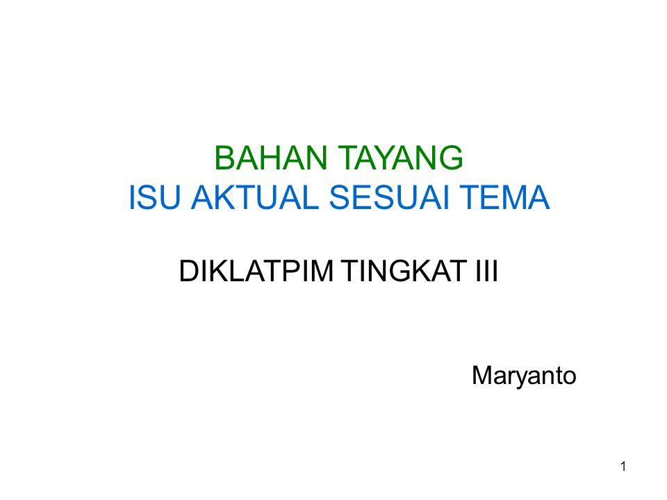 1 BAHAN TAYANG ISU AKTUAL SESUAI TEMA DIKLATPIM TINGKAT III Maryanto