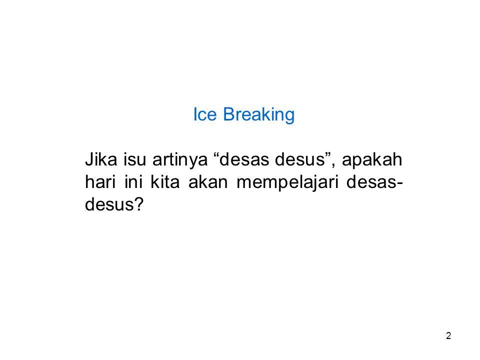 """2 Ice Breaking Jika isu artinya """"desas desus"""", apakah hari ini kita akan mempelajari desas- desus?"""