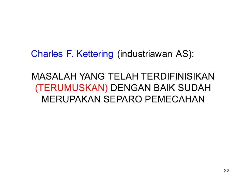 32 Charles F. Kettering (industriawan AS): MASALAH YANG TELAH TERDIFINISIKAN (TERUMUSKAN) DENGAN BAIK SUDAH MERUPAKAN SEPARO PEMECAHAN