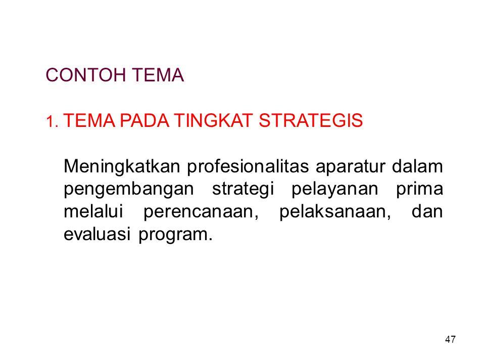 47 CONTOH TEMA 1. TEMA PADA TINGKAT STRATEGIS Meningkatkan profesionalitas aparatur dalam pengembangan strategi pelayanan prima melalui perencanaan, p