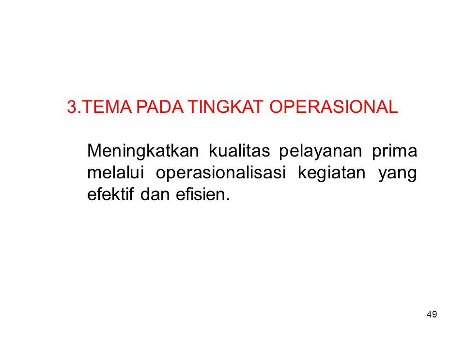 49 3.TEMA PADA TINGKAT OPERASIONAL Meningkatkan kualitas pelayanan prima melalui operasionalisasi kegiatan yang efektif dan efisien.