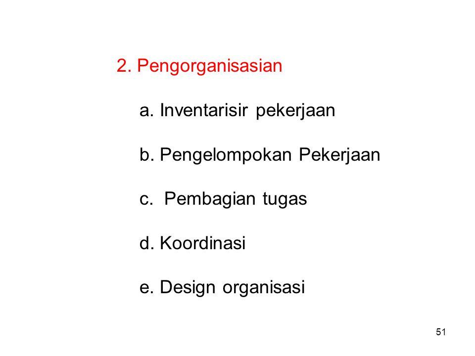 51 2. Pengorganisasian a. Inventarisir pekerjaan b. Pengelompokan Pekerjaan c. Pembagian tugas d. Koordinasi e. Design organisasi