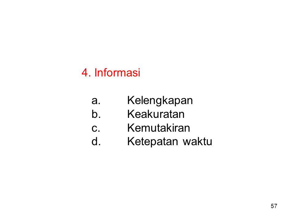 57 4. Informasi a.Kelengkapan b.Keakuratan c.Kemutakiran d.Ketepatan waktu