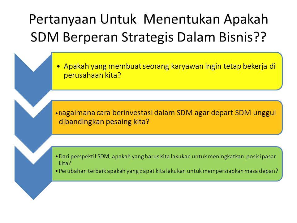 Pertanyaan Untuk Menentukan Apakah SDM Berperan Strategis Dalam Bisnis?? Apakah yang membuat seorang karyawan ingin tetap bekerja di perusahaan kita?