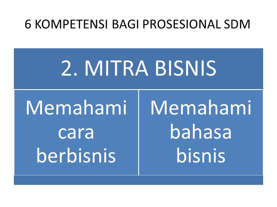 6 KOMPETENSI BAGI PROSESIONAL SDM 2. MITRA BISNIS Memahami cara berbisnis Memahami bahasa bisnis