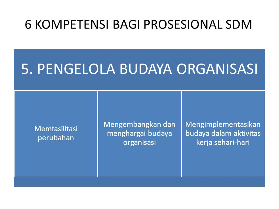 6 KOMPETENSI BAGI PROSESIONAL SDM 5. PENGELOLA BUDAYA ORGANISASI Memfasilitasi perubahan Mengembangkan dan menghargai budaya organisasi Mengimplementa