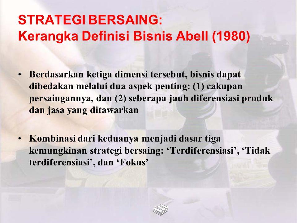 STRATEGI BERSAING: Kerangka Definisi Bisnis Abell (1980) Berdasarkan ketiga dimensi tersebut, bisnis dapat dibedakan melalui dua aspek penting: (1) ca