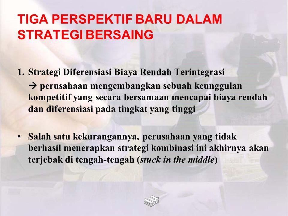 TIGA PERSPEKTIF BARU DALAM STRATEGI BERSAING 1.Strategi Diferensiasi Biaya Rendah Terintegrasi  perusahaan mengembangkan sebuah keunggulan kompetitif