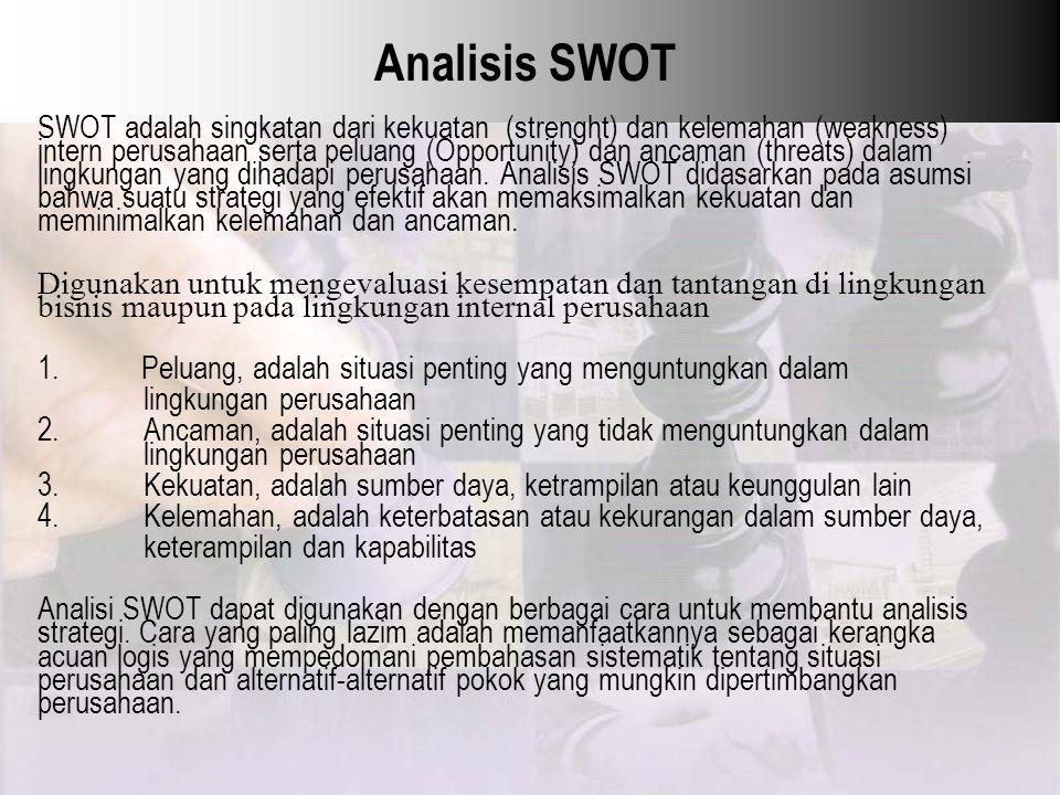 Analisis SWOT SWOT adalah singkatan dari kekuatan (strenght) dan kelemahan (weakness) intern perusahaan serta peluang (Opportunity) dan ancaman (threa
