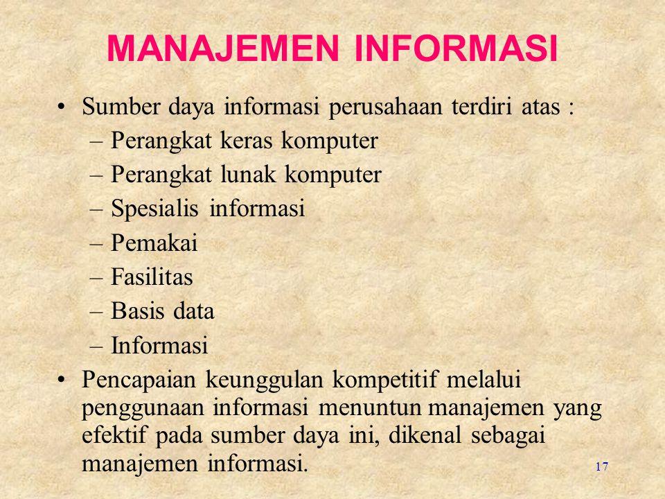 17 MANAJEMEN INFORMASI Sumber daya informasi perusahaan terdiri atas : –Perangkat keras komputer –Perangkat lunak komputer –Spesialis informasi –Pemak