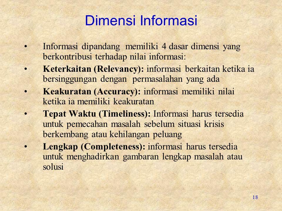 18 Dimensi Informasi Informasi dipandang memiliki 4 dasar dimensi yang berkontribusi terhadap nilai informasi: Keterkaitan (Relevancy): informasi berkaitan ketika ia bersinggungan dengan permasalahan yang ada Keakuratan (Accuracy): informasi memiliki nilai ketika ia memiliki keakuratan Tepat Waktu (Timeliness): Informasi harus tersedia untuk pemecahan masalah sebelum situasi krisis berkembang atau kehilangan peluang Lengkap (Completeness): informasi harus tersedia untuk menghadirkan gambaran lengkap masalah atau solusi