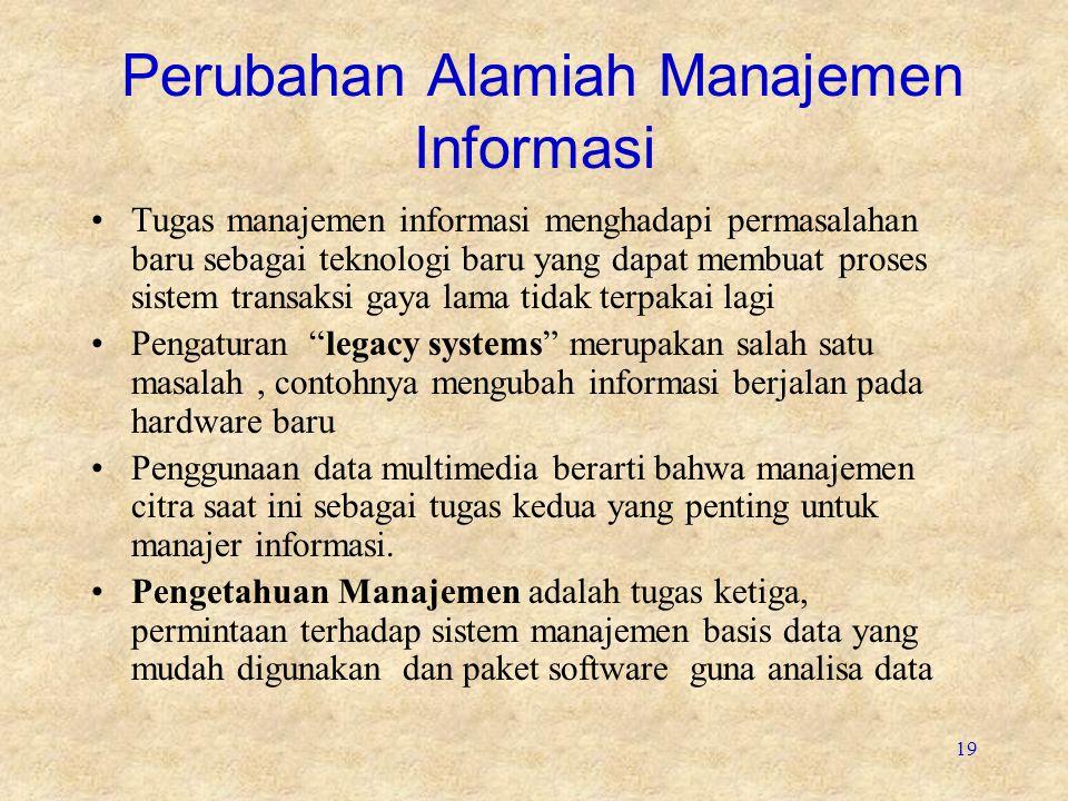 19 Perubahan Alamiah Manajemen Informasi Tugas manajemen informasi menghadapi permasalahan baru sebagai teknologi baru yang dapat membuat proses siste