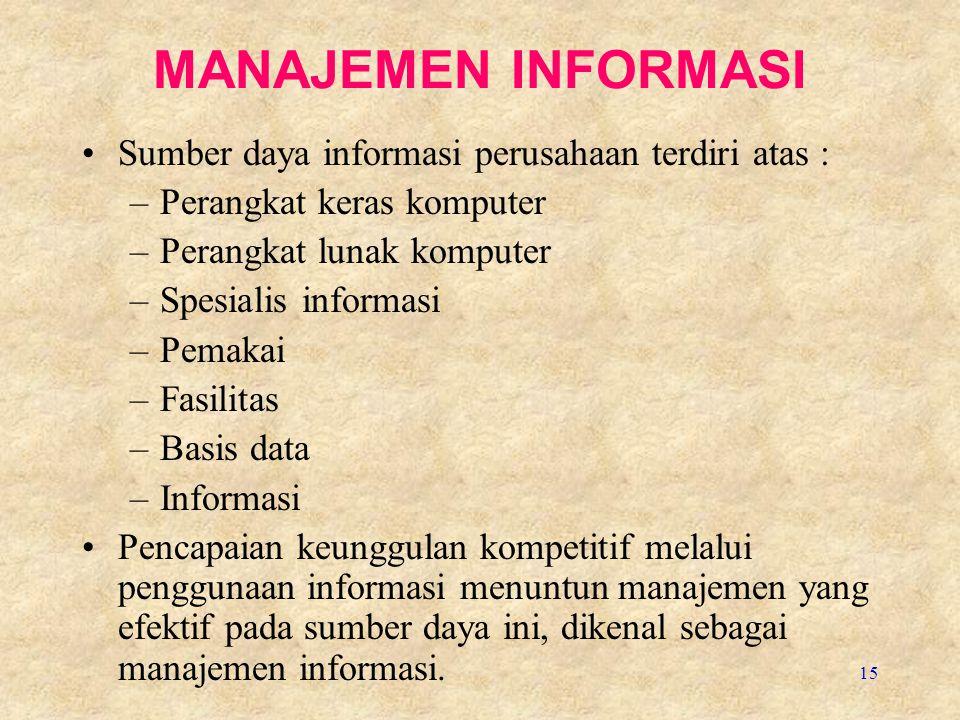 15 MANAJEMEN INFORMASI Sumber daya informasi perusahaan terdiri atas : –Perangkat keras komputer –Perangkat lunak komputer –Spesialis informasi –Pemak