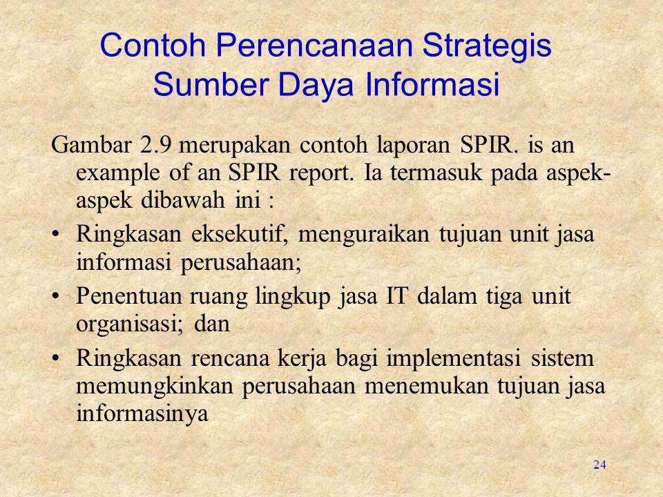 24 Contoh Perencanaan Strategis Sumber Daya Informasi Gambar 2.9 merupakan contoh laporan SPIR. is an example of an SPIR report. Ia termasuk pada aspe