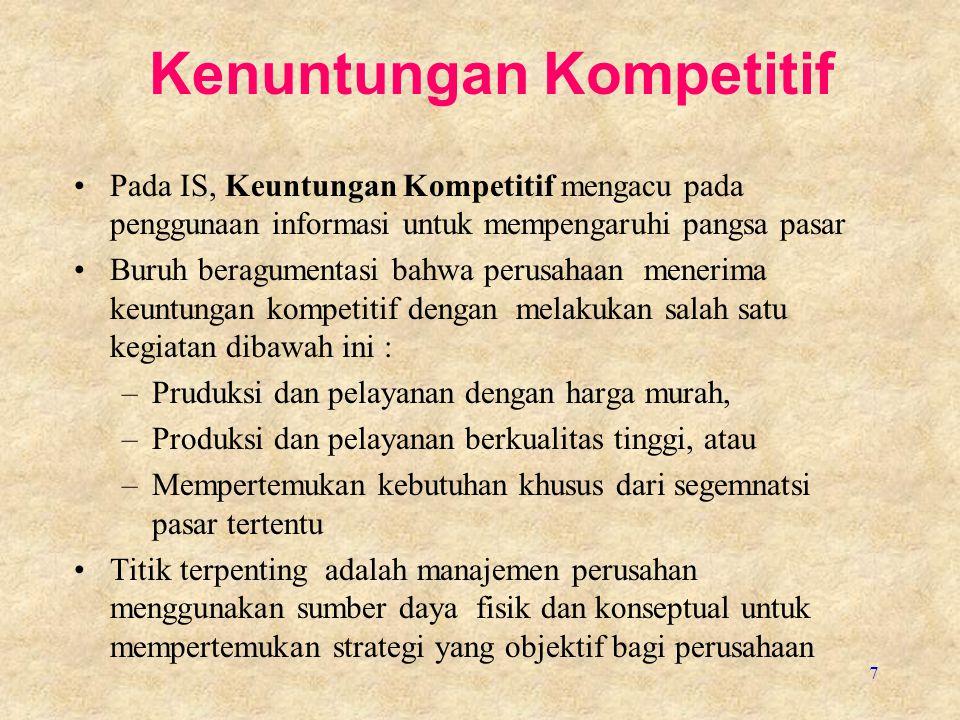 7 Kenuntungan Kompetitif Pada IS, Keuntungan Kompetitif mengacu pada penggunaan informasi untuk mempengaruhi pangsa pasar Buruh beragumentasi bahwa pe