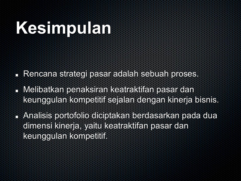 Kesimpulan Rencana strategi pasar adalah sebuah proses. Melibatkan penaksiran keatraktifan pasar dan keunggulan kompetitif sejalan dengan kinerja bisn