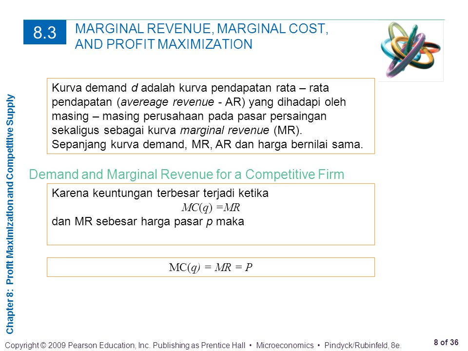 Chapter 8: Profit Maximization and Competitive Supply 9 of 36 Copyright © 2009 Pearson Education, Inc.