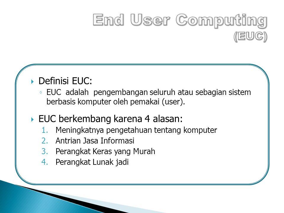  Definisi EUC: ◦ EUC adalah pengembangan seluruh atau sebagian sistem berbasis komputer oleh pemakai (user).