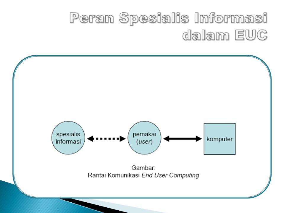  Spesialisasi dan user sama-sama mengembangkan sistem  Spesialisasi informasi akan melaksanakan peran konsultasi 15