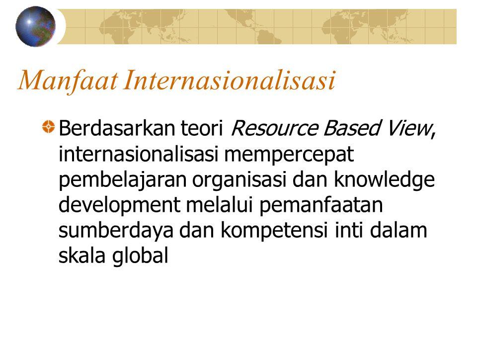 Manfaat Internasionalisasi Berdasarkan teori Resource Based View, internasionalisasi mempercepat pembelajaran organisasi dan knowledge development melalui pemanfaatan sumberdaya dan kompetensi inti dalam skala global