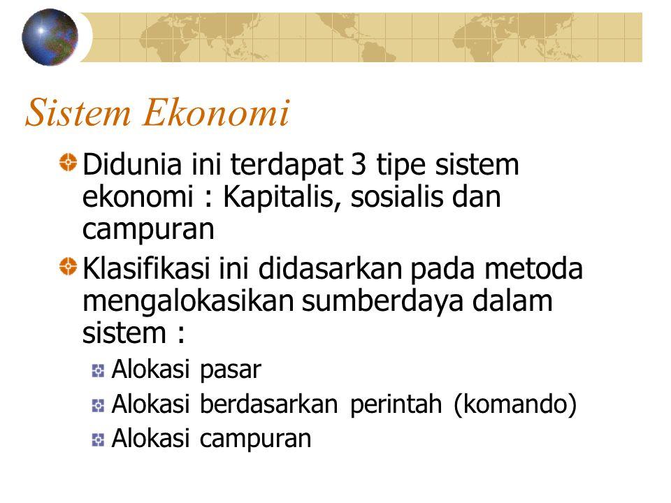 Sistem Ekonomi Didunia ini terdapat 3 tipe sistem ekonomi : Kapitalis, sosialis dan campuran Klasifikasi ini didasarkan pada metoda mengalokasikan sumberdaya dalam sistem : Alokasi pasar Alokasi berdasarkan perintah (komando) Alokasi campuran