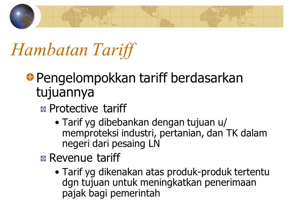 Hambatan Tariff Pengelompokkan tariff berdasarkan tujuannya Protective tariff Tarif yg dibebankan dengan tujuan u/ memproteksi industri, pertanian, dan TK dalam negeri dari pesaing LN Revenue tariff Tarif yg dikenakan atas produk-produk tertentu dgn tujuan untuk meningkatkan penerimaan pajak bagi pemerintah