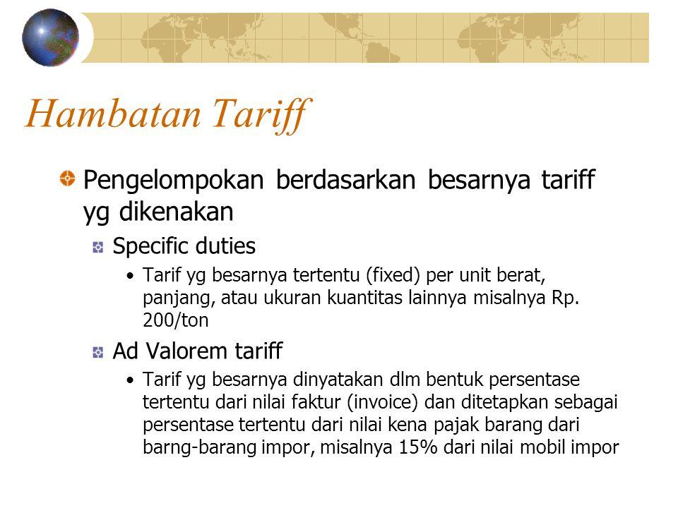 Hambatan Tariff Pengelompokan berdasarkan besarnya tariff yg dikenakan Specific duties Tarif yg besarnya tertentu (fixed) per unit berat, panjang, atau ukuran kuantitas lainnya misalnya Rp.