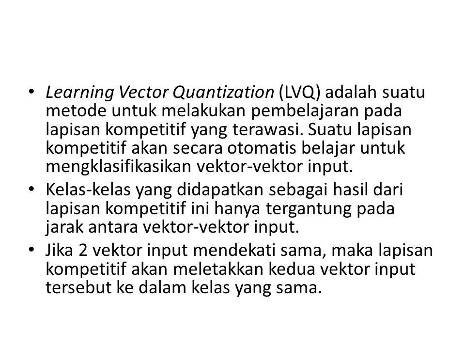 Learning Vector Quantization (LVQ) adalah suatu metode untuk melakukan pembelajaran pada lapisan kompetitif yang terawasi. Suatu lapisan kompetitif ak