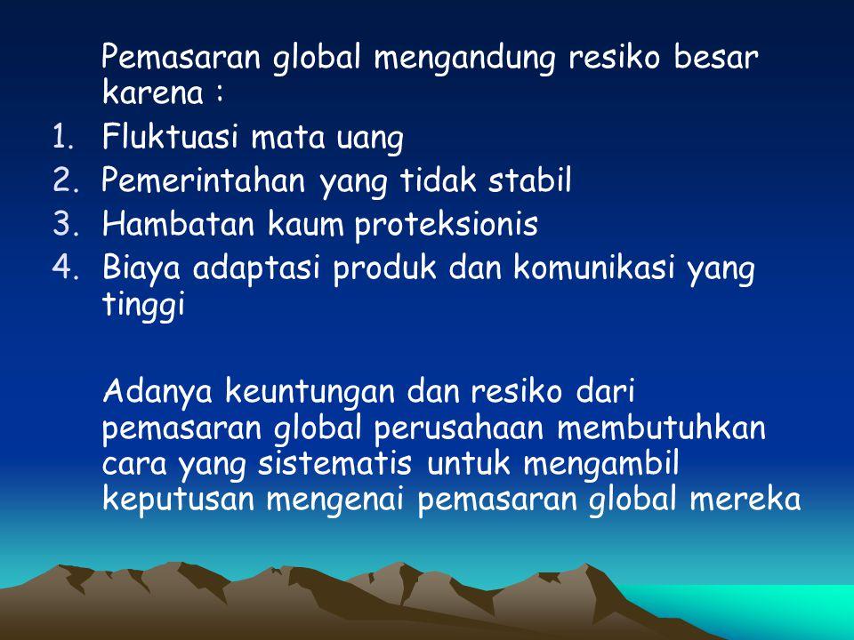 Konsep kunci yang membantu pemasar mencapai pasar global potensial termasuk konsep strategi ada 3 elemen : 1.Pemahaman peluang dan ancaman dalam lingkungan 2.Kekuatan dan kelemahan dalam organisasi 3.Nilai-nilai stakeholders dalam oganisasi APA PENGARUH TERHADAP INDONESIA .