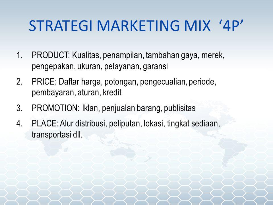 STRATEGI MARKETING MIX '4P' 1.PRODUCT: Kualitas, penampilan, tambahan gaya, merek, pengepakan, ukuran, pelayanan, garansi 2.PRICE: Daftar harga, poton