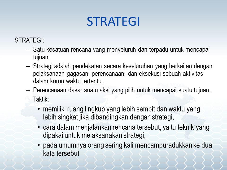 STRATEGI STRATEGI: – Satu kesatuan rencana yang menyeluruh dan terpadu untuk mencapai tujuan. – Strategi adalah pendekatan secara keseluruhan yang ber