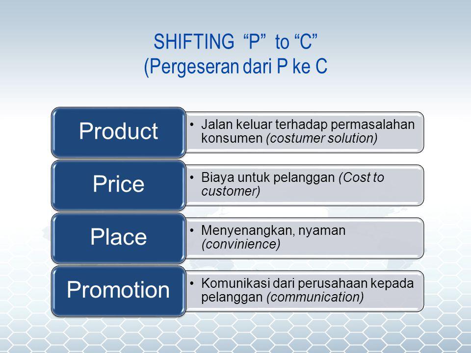"""SHIFTING """"P"""" to """"C"""" (Pergeseran dari P ke C Jalan keluar terhadap permasalahan konsumen (costumer solution) Product Biaya untuk pelanggan (Cost to cus"""