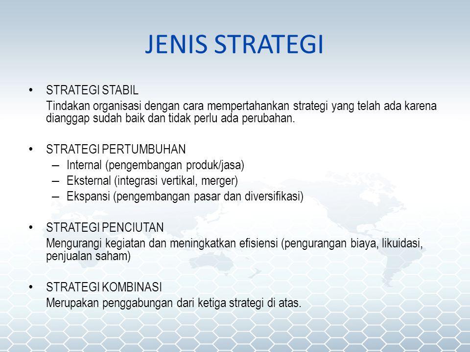 JENIS STRATEGI STRATEGI STABIL Tindakan organisasi dengan cara mempertahankan strategi yang telah ada karena dianggap sudah baik dan tidak perlu ada p