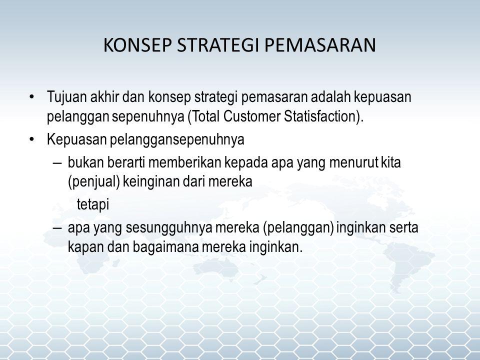 KONSEP STRATEGI PEMASARAN Tujuan akhir dan konsep strategi pemasaran adalah kepuasan pelanggan sepenuhnya (Total Customer Statisfaction). Kepuasan pel