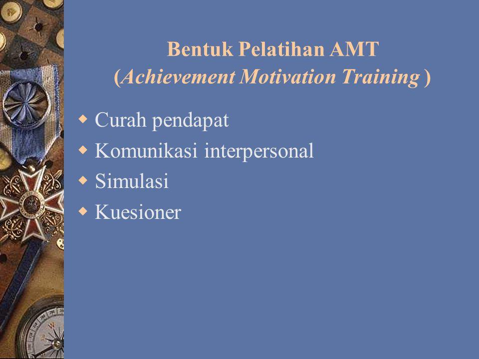 Materi Pelatihan AMT (Achievement Motivation Training ) 1.Konsep pengenalan diri (Analisis SWOT); 2.Dukungan antarpribadi (Hubungan interpersonal); 3.Perilaku efektif (Kemampuan berkomunikasi, dll).
