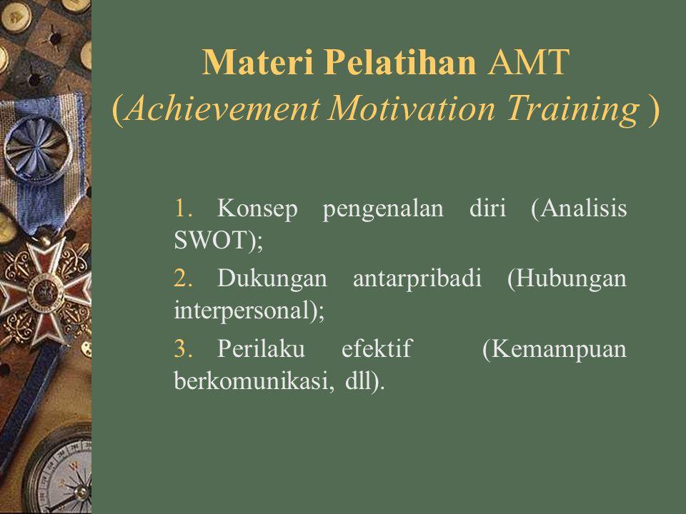 Materi Pelatihan AMT (Achievement Motivation Training ) 1.Konsep pengenalan diri (Analisis SWOT); 2.Dukungan antarpribadi (Hubungan interpersonal); 3.