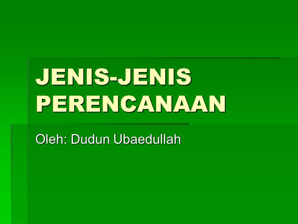 JENIS-JENIS PERENCANAAN Oleh: Dudun Ubaedullah