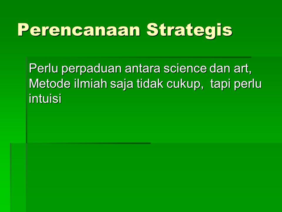 Proses Perencanaan Strategis 1.Kenali Nilai, Misi, dan Tujuan Organisasi 2.Investigasi kekuatan dan kelemahan organisasi 3.Investigasi peluang dan ancaman lingkungan (sistem lain)