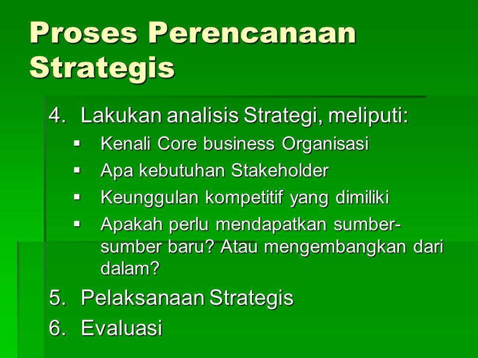 Proses Perencanaan Strategis 4.Lakukan analisis Strategi, meliputi:  Kenali Core business Organisasi  Apa kebutuhan Stakeholder  Keunggulan kompeti
