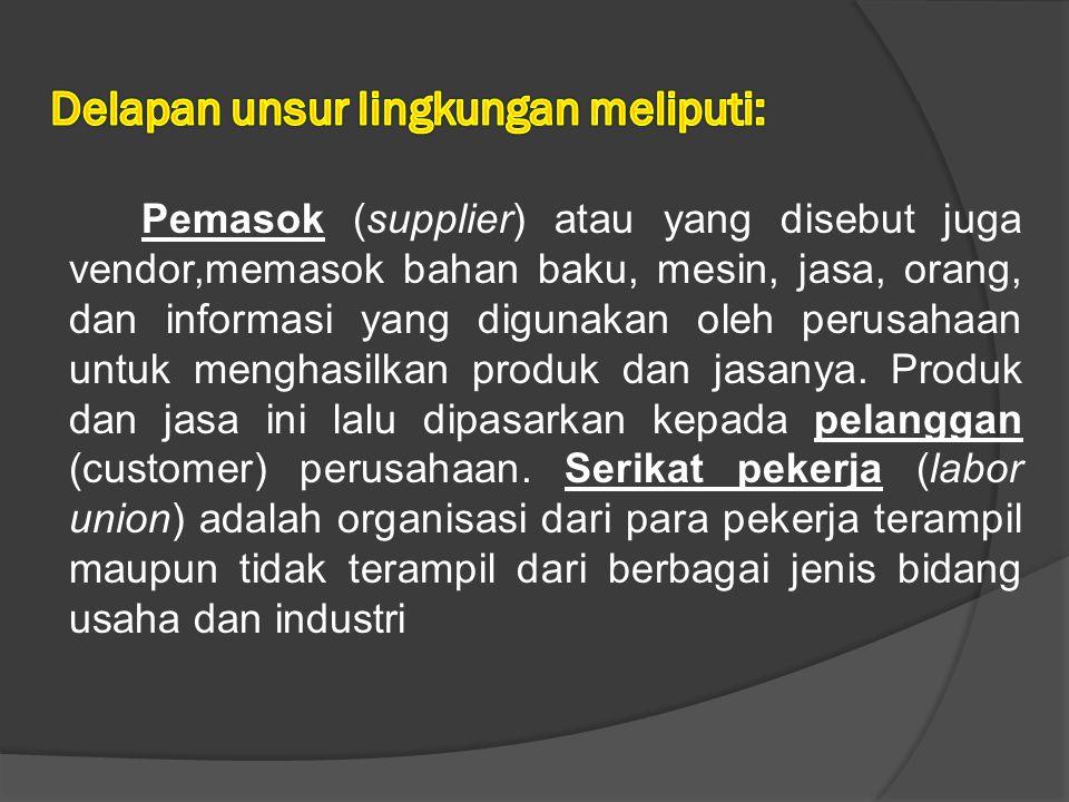 Pemasok (supplier) atau yang disebut juga vendor,memasok bahan baku, mesin, jasa, orang, dan informasi yang digunakan oleh perusahaan untuk menghasilkan produk dan jasanya.