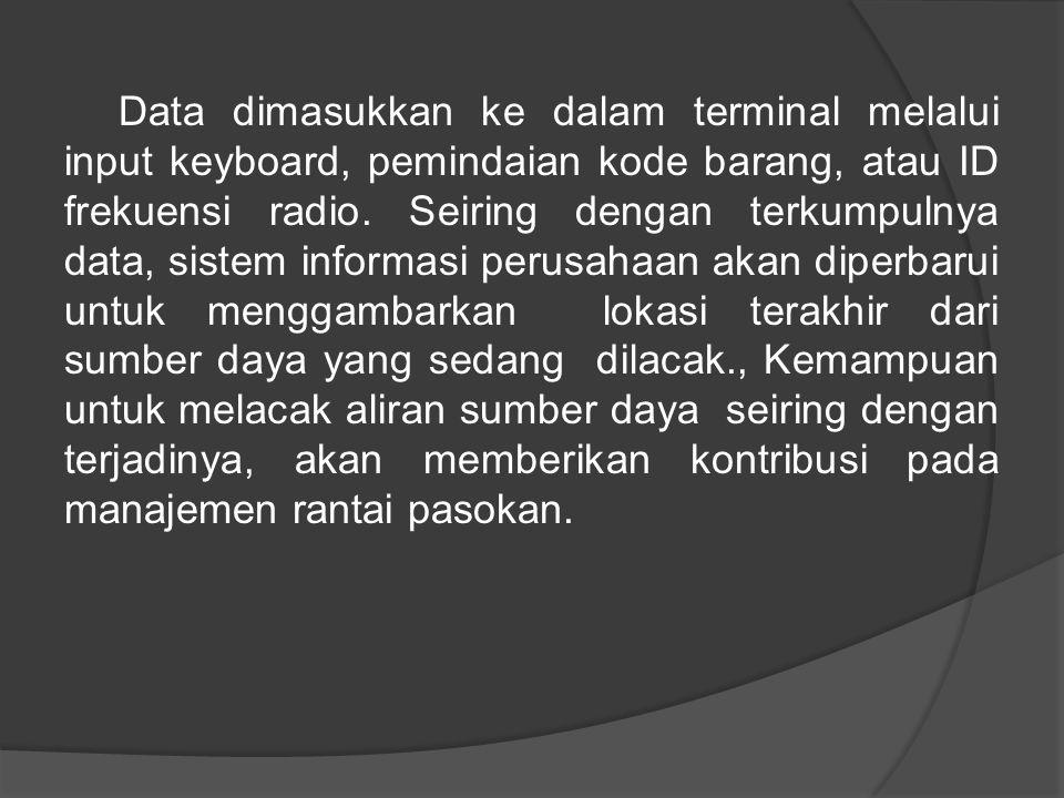 Data dimasukkan ke dalam terminal melalui input keyboard, pemindaian kode barang, atau ID frekuensi radio.