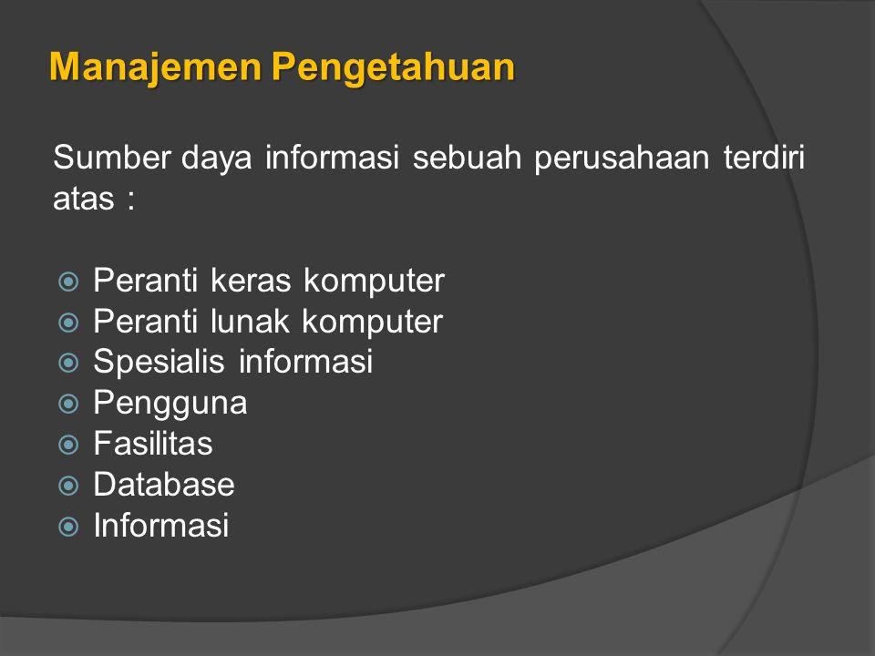 Manajemen Pengetahuan Sumber daya informasi sebuah perusahaan terdiri atas :  Peranti keras komputer  Peranti lunak komputer  Spesialis informasi  Pengguna  Fasilitas  Database  Informasi