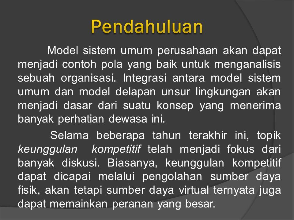 Model sistem umum perusahaan akan dapat menjadi contoh pola yang baik untuk menganalisis sebuah organisasi.
