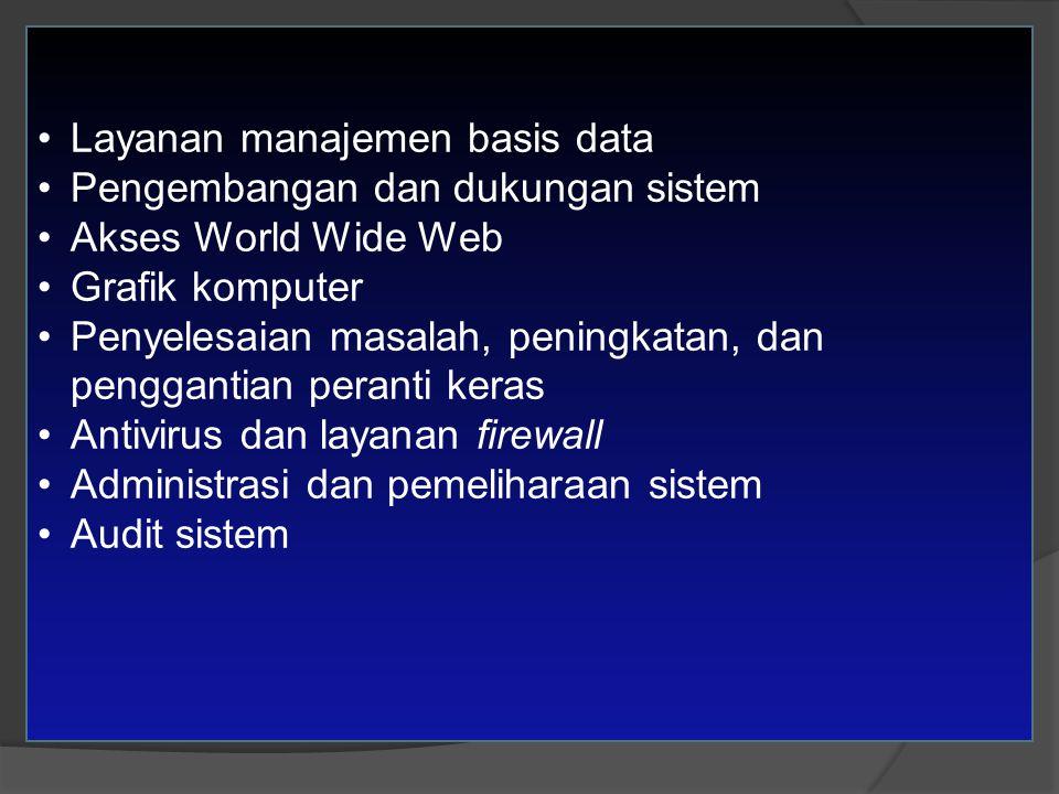 Layanan manajemen basis data Pengembangan dan dukungan sistem Akses World Wide Web Grafik komputer Penyelesaian masalah, peningkatan, dan penggantian peranti keras Antivirus dan layanan firewall Administrasi dan pemeliharaan sistem Audit sistem