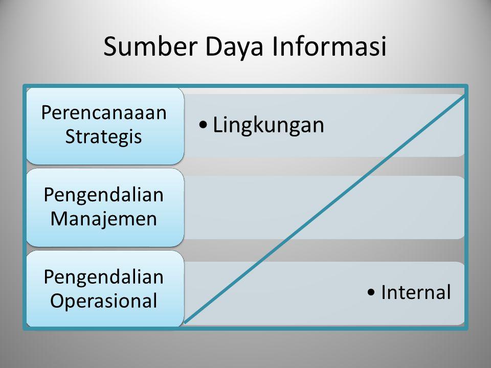 Sumber Daya Informasi Lingkungan Perencanaaan Strategis Pengendalian Manajemen Internal Pengendalian Operasional