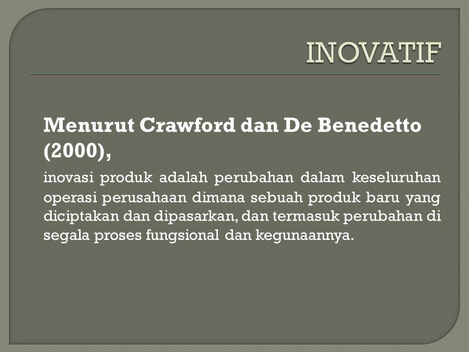 Menurut Crawford dan De Benedetto (2000), inovasi produk adalah perubahan dalam keseluruhan operasi perusahaan dimana sebuah produk baru yang diciptakan dan dipasarkan, dan termasuk perubahan di segala proses fungsional dan kegunaannya.