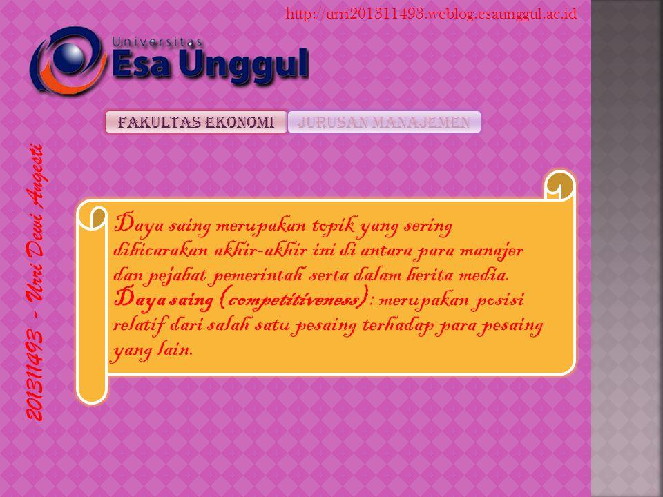 201311493 - Urri Dewi Angesti Fakultas EkonomiJurusan Manajemen http://urri201311493.weblog.esaunggul.ac.id Daya saing merupakan topik yang sering dibicarakan akhir-akhir ini di antara para manajer dan pejabat pemerintah serta dalam berita media.