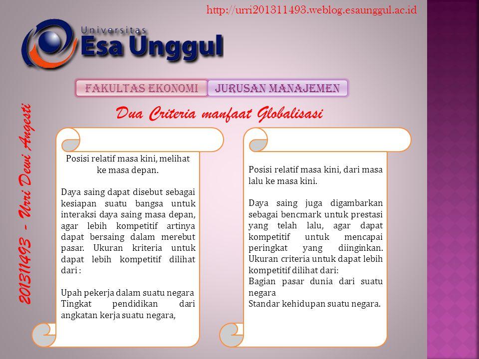 201311493 - Urri Dewi Angesti Fakultas EkonomiJurusan Manajemen http://urri201311493.weblog.esaunggul.ac.id Dua Criteria manfaat Globalisasi Posisi relatif masa kini, melihat ke masa depan.